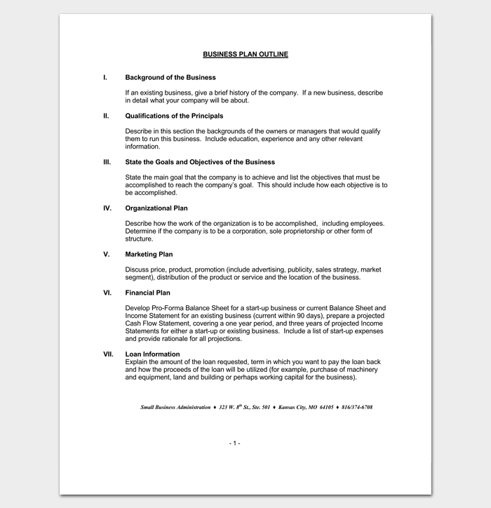 Business Presentation Outline Template 1