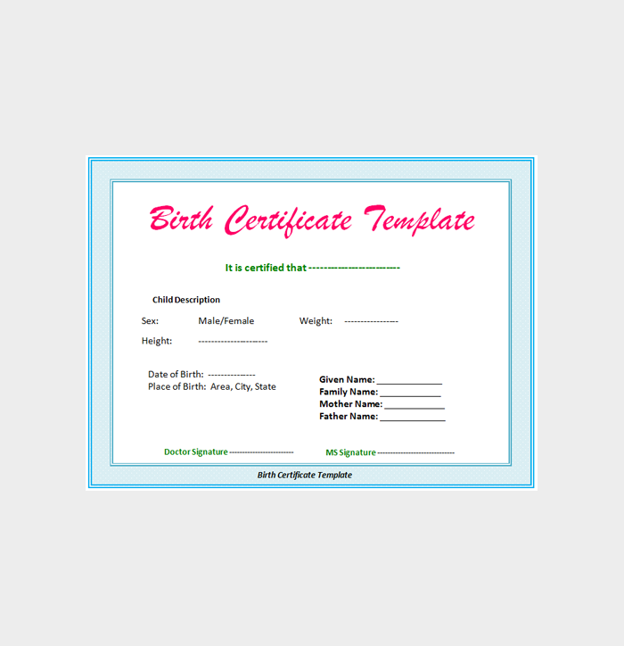 Free Birth Certificate Template–in Microsoft Word 04