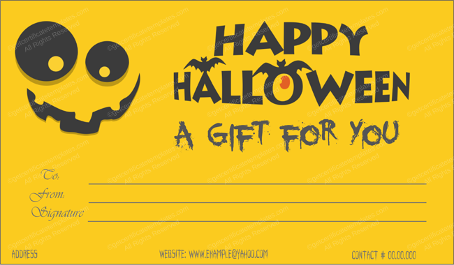 Halloween Gift Certificates Yellow Customize in Word #1029