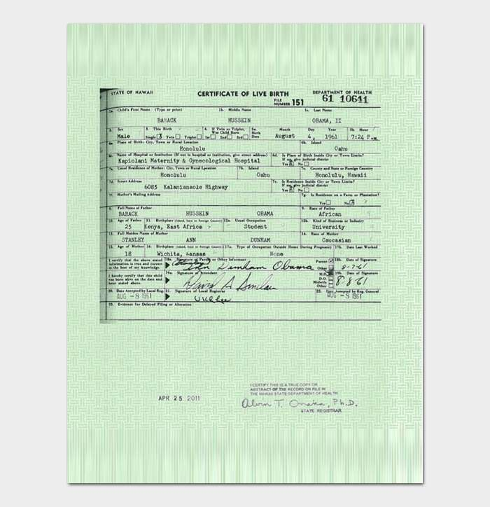 Sample Birth Certificate 3
