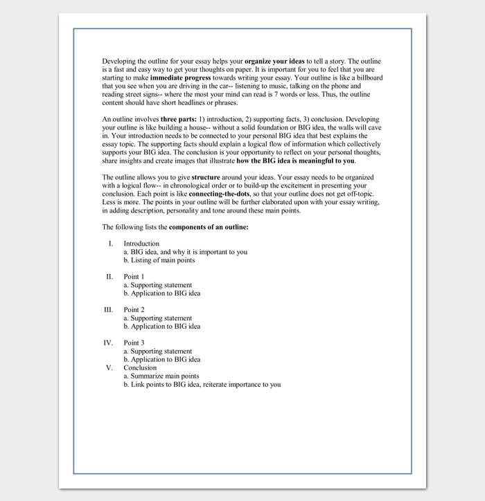 Sample College Essay Outline Template
