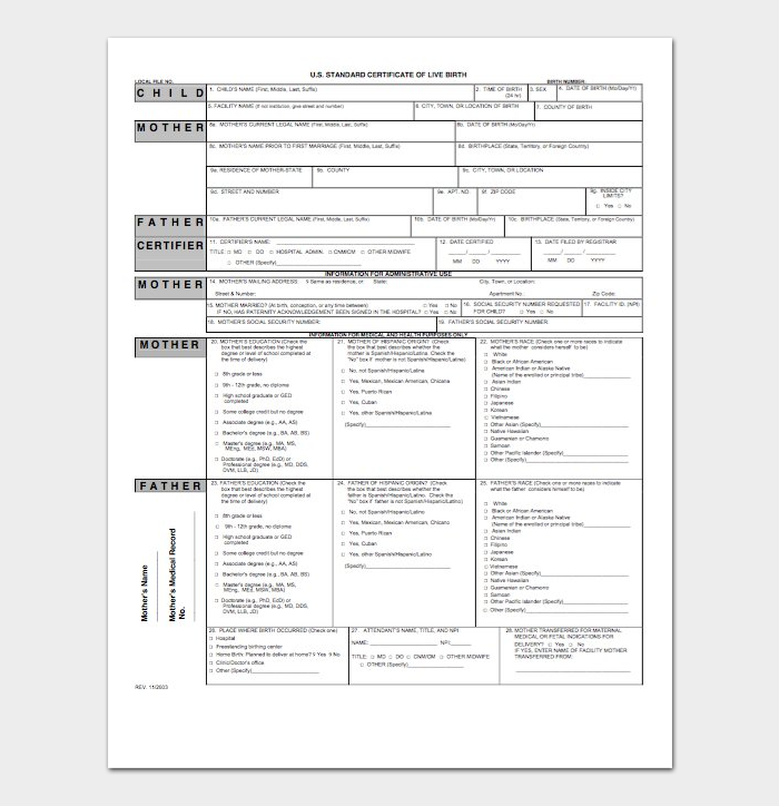 Sample birth certificate template