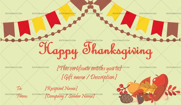14 Thanksgiving Gift Certificate Template Festive Editable Certificate #5607