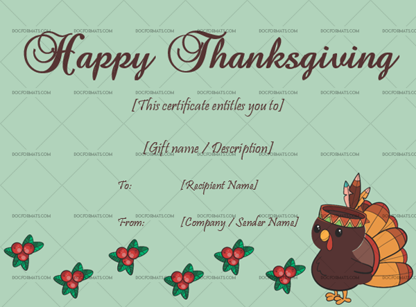 23 Thanksgiving Gift Certificate Template Sky Blank Template #5616