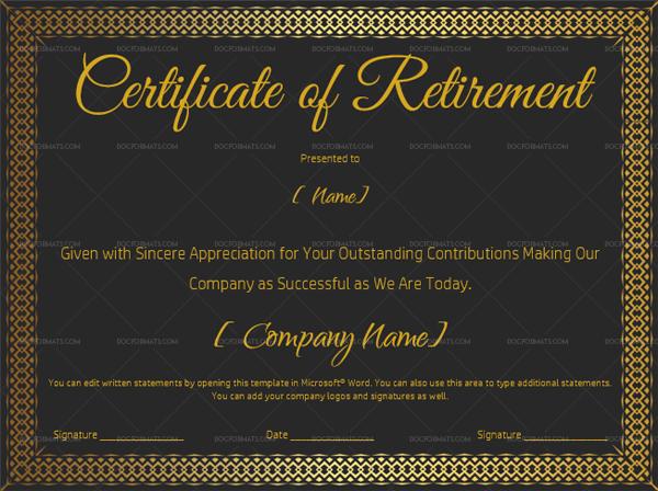 Certificate of Retirement Template Black 929