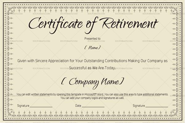 Certificate of Retirement Template Khaki 931