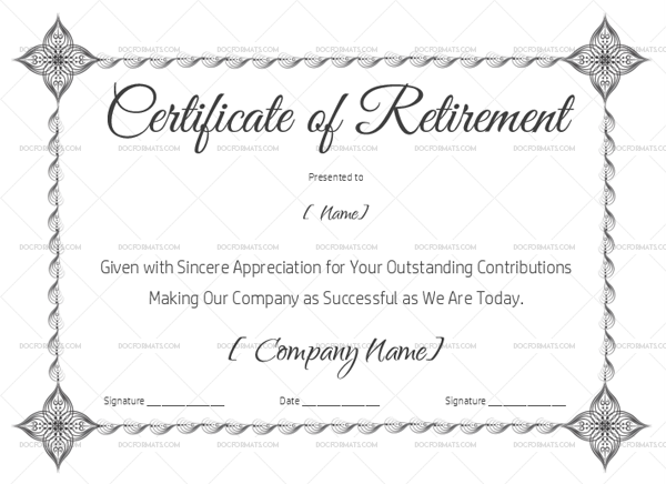22  retirement certificate templates