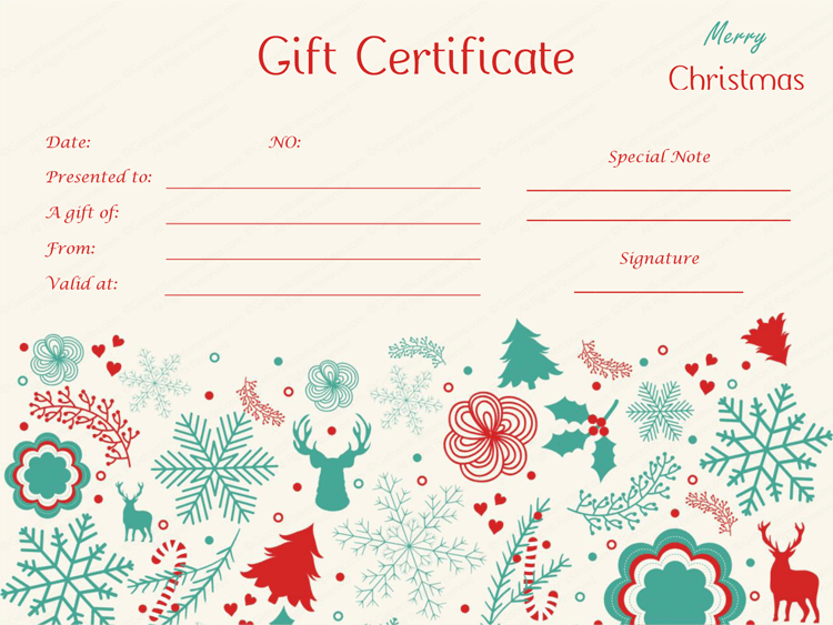 Christmas Design Gift Certificate Template MS WORD