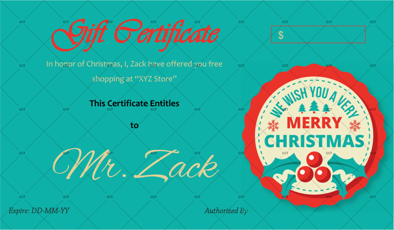 Christmas Gift Certificate Gift Idea