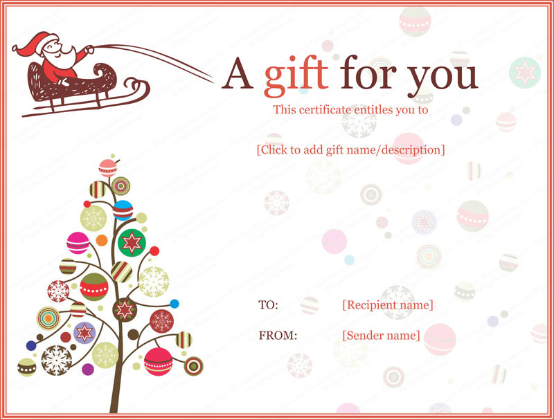 Christmas Gift Certificate Template Editable