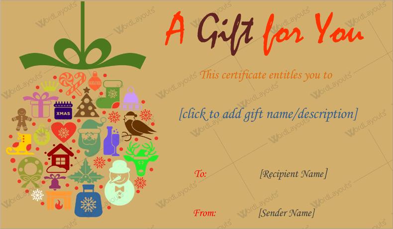 Christmas Gift Certificate khaki Word Format