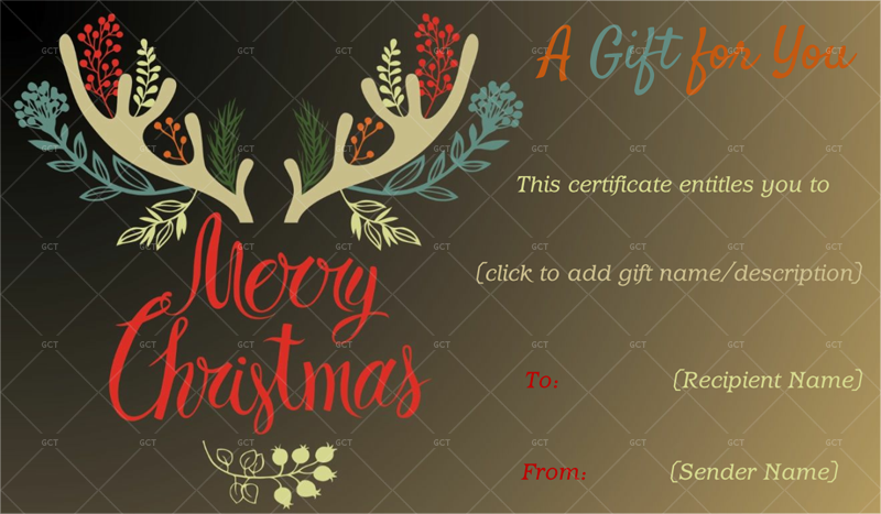 Christmas Reindeer Gift Certificate Christmas Gift Idea