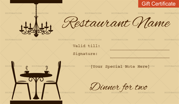 Dinner for Two Gift Certificate (Customizable in Word)