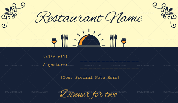 Dinner for Two Gift Certificate Template – 1 – Blue (Word)