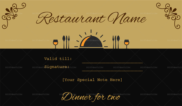Dinner for two certificate template 1 Black