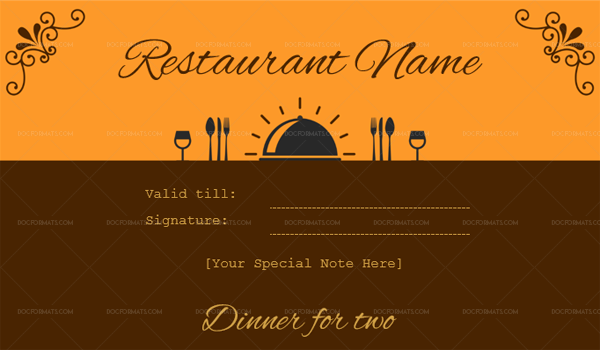 Dinner for two certificate template 1 Brown (Microsoft Word)