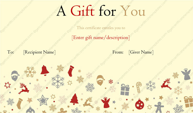 Printable Christmas Gift Certificate (candies design)