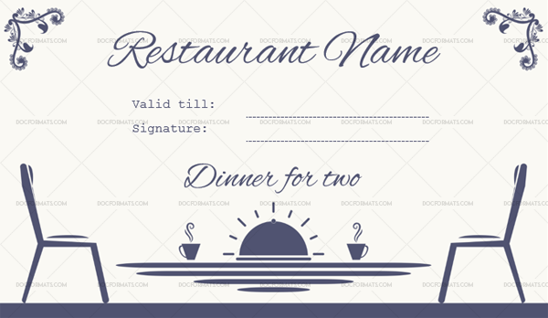 Restaurant gift certificate (Dinner for Two) with wording—Blue