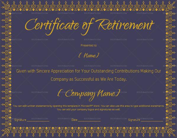 Retirement Certificate Template Royal Blue 930