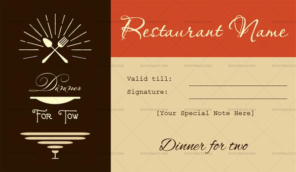 printable dinner for two restaurant gift certificate template