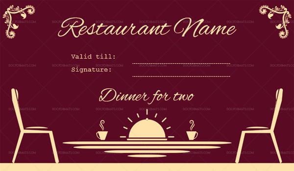restaurant birthday gift certificate (Dinner for Two Template)