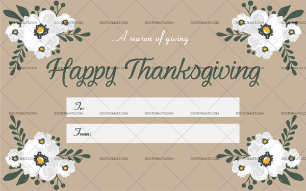 10 Thanksgiving Gift Tag Template White Printable in Word