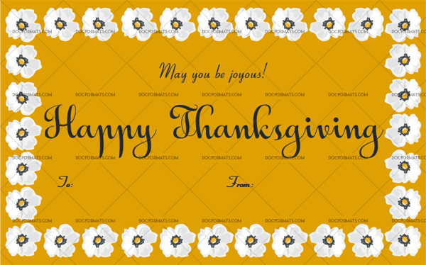 12 Thanksgiving Gift Tag Template Yellow Blank Design