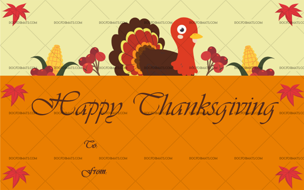 14 Thanksgiving Gift Tag Template Turkey Editable Certificate