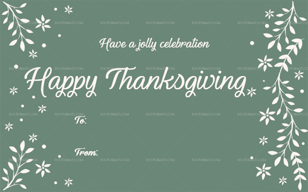 4 Thanksgiving Gift Tag Template Green Blank Design