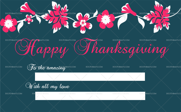 6 Thanksgiving Gift Tag Template Pink Editable Certificate