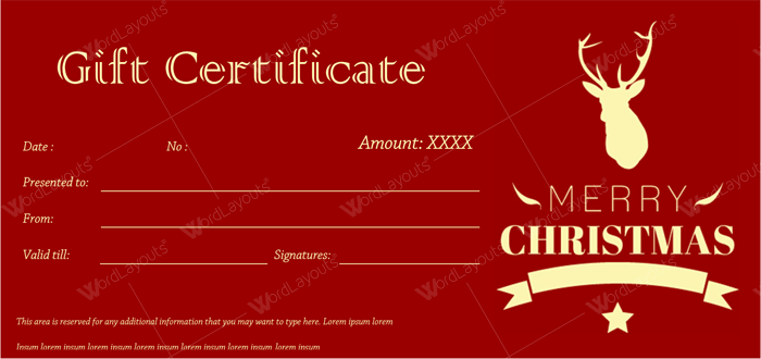 Christmas Gift Certificate ClassicChristmas gift certificate for Word