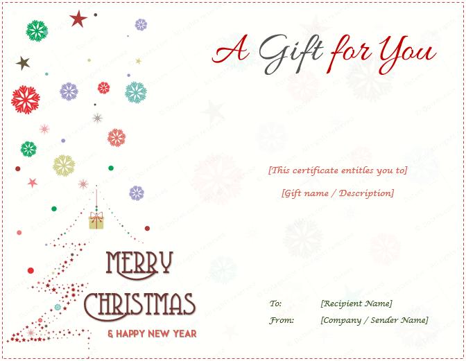 Christmas Gift Certificate Snow and Christmas Tree
