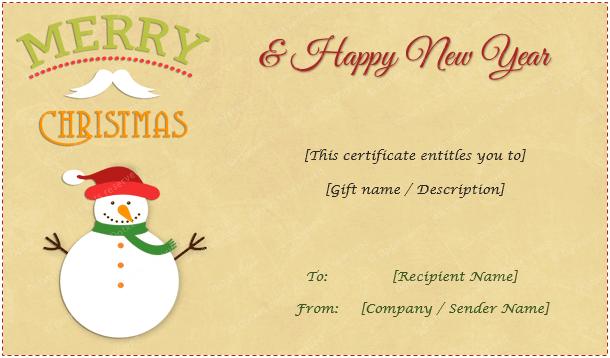 Christmas Gift Certificate Snowman