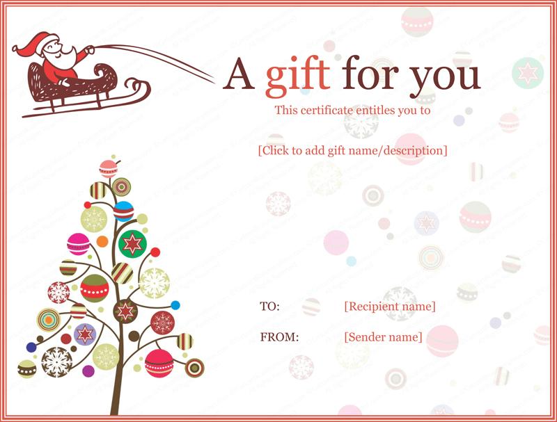 Christmas Gift Certificate Template Editable Christmas Gift Certificate