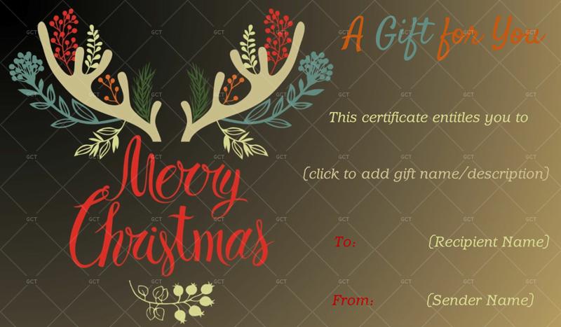 Christmas Reindeer Gift Certificate Christmas Gift Certificate Idea