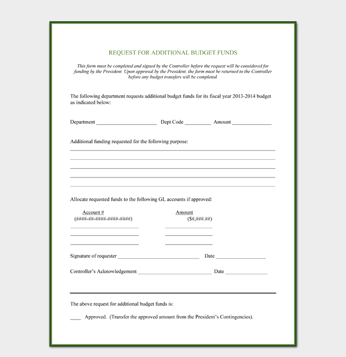 Additional Budget Request Form