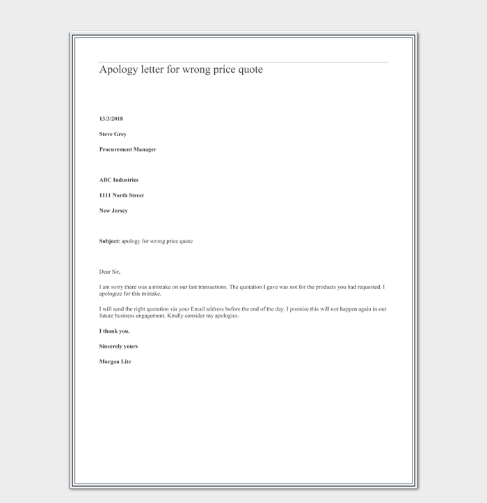 Apology letter for wrong price quote