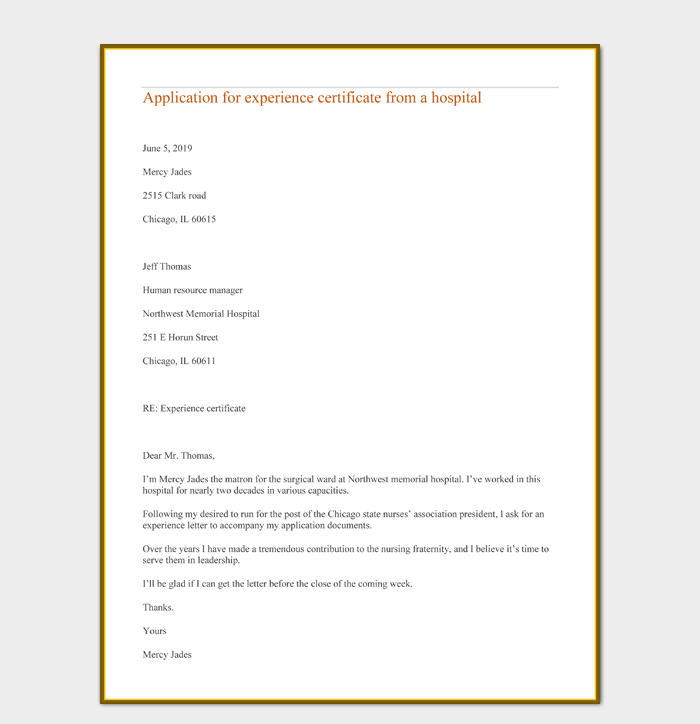 Application for experience certificate from a hospital