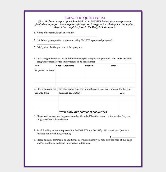 Basic Budget Request Form
