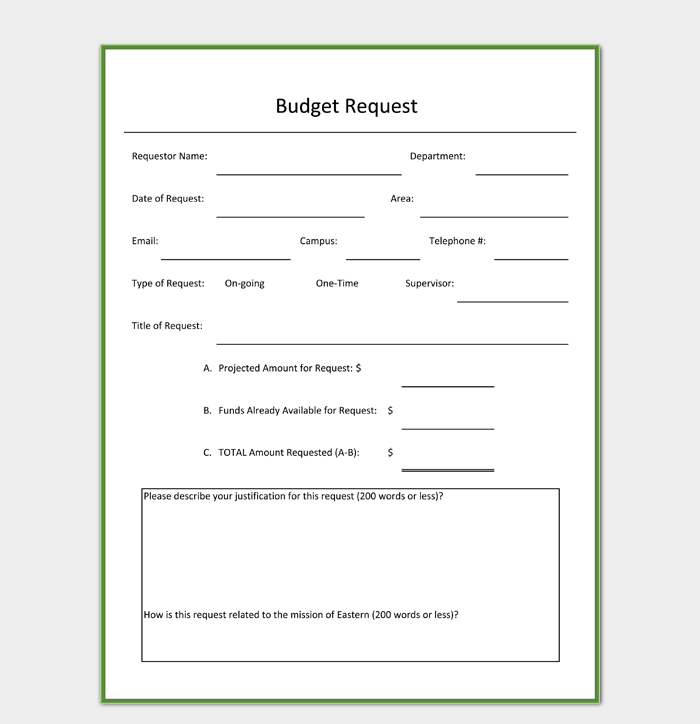 Budget Request Form in PDF