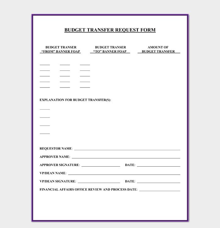 Budget Transfer Request Form PDF