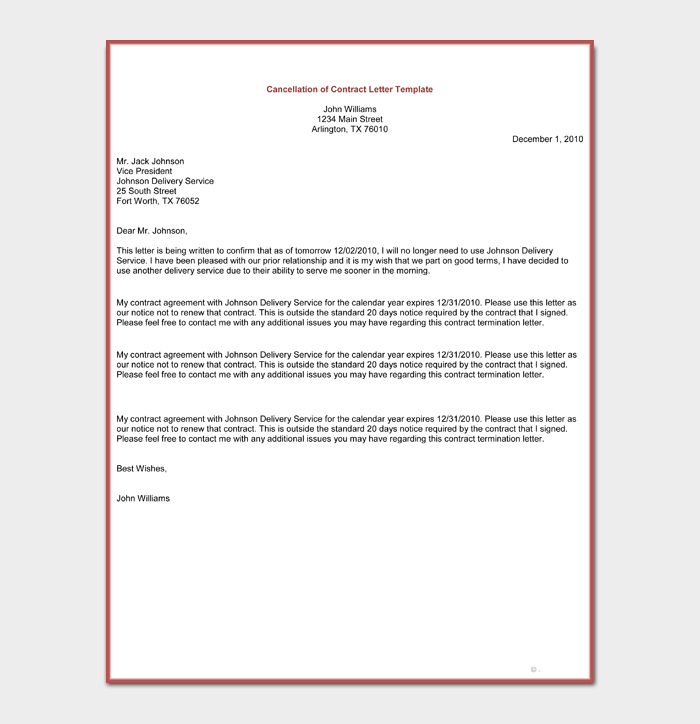 Cancellation of Contract Letter Template