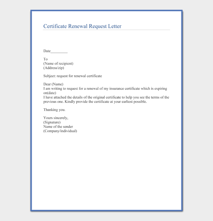 Certificate Renewal Request Letter