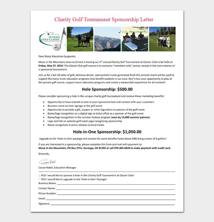 Charity Golf Tournament Sponsorship Letter
