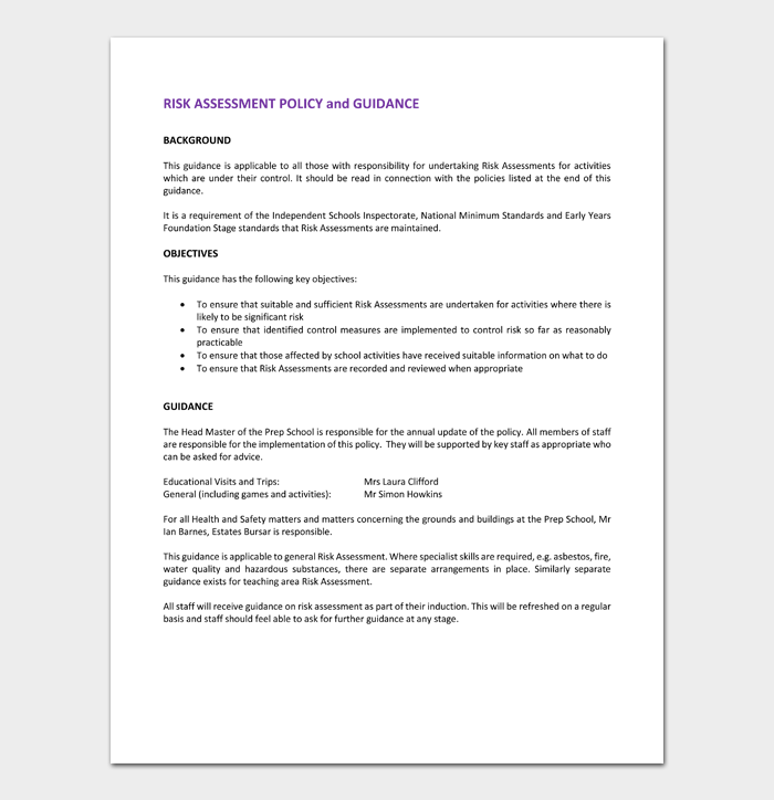 Charity Risk Assessment Policy Template