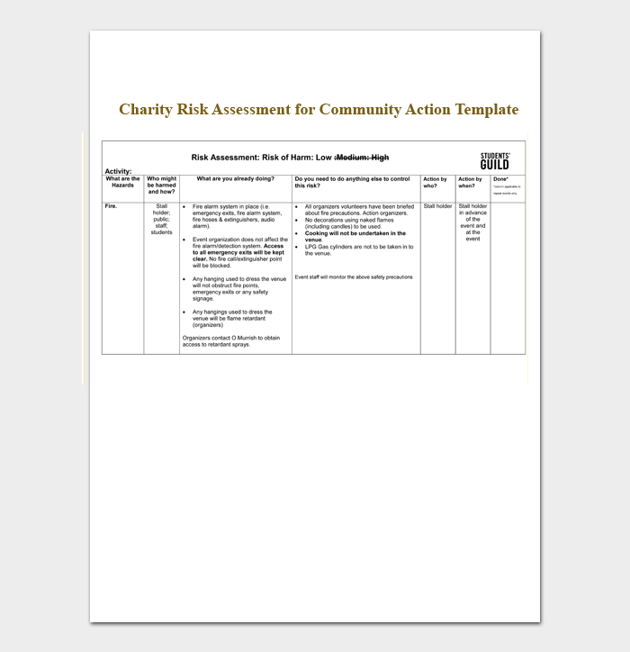 Charity Risk Assessment for Community Action Template