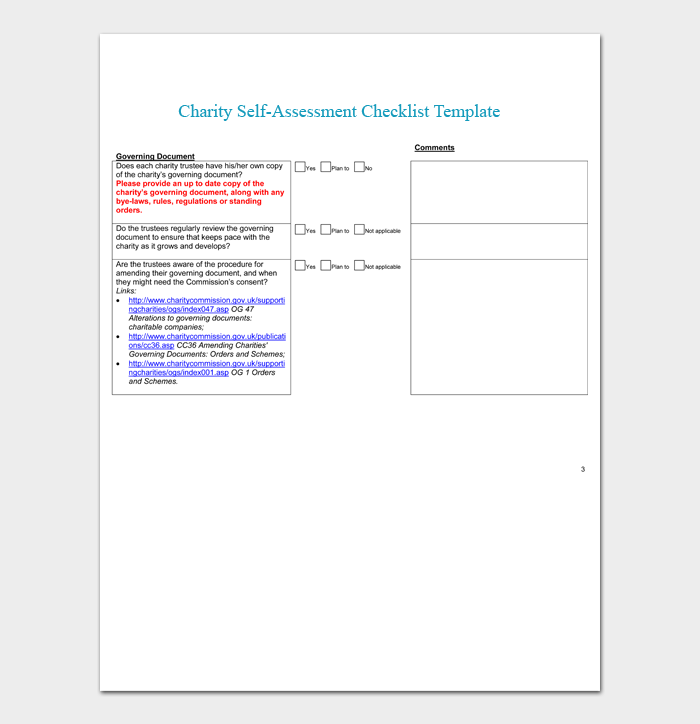 Charity Self Assessment Checklist Template