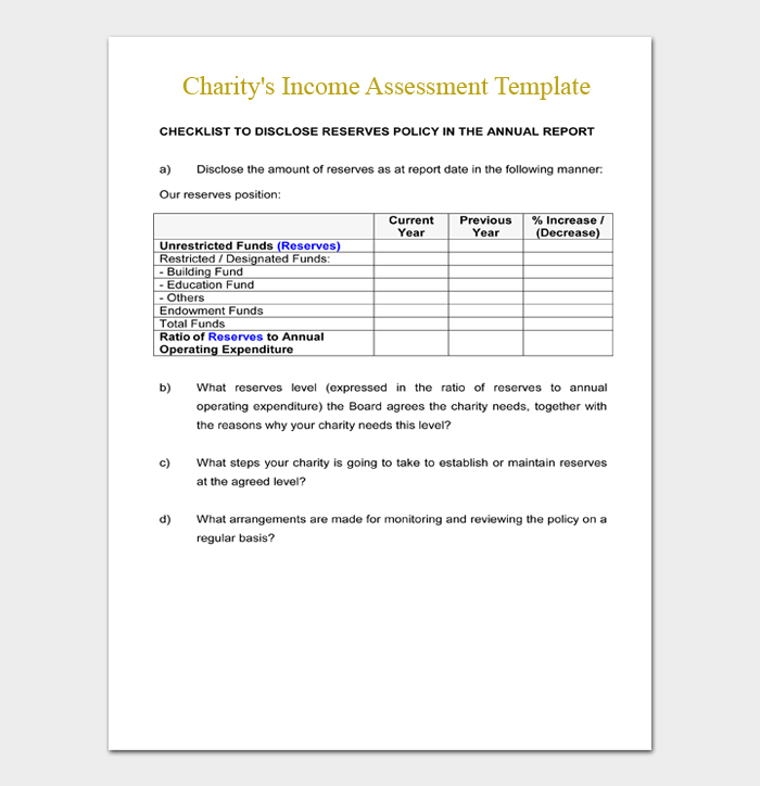 Charity's Income Assessment Template