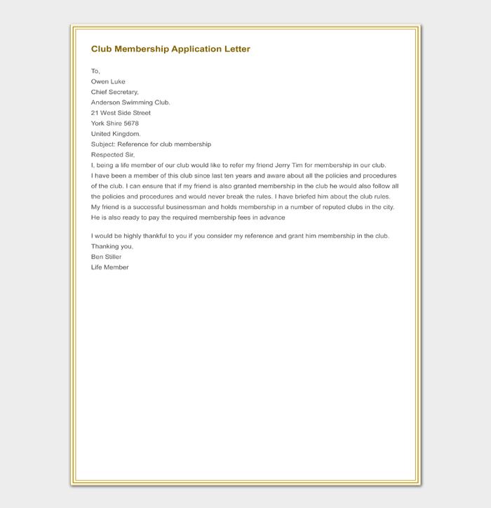 Club Membership Application Letter