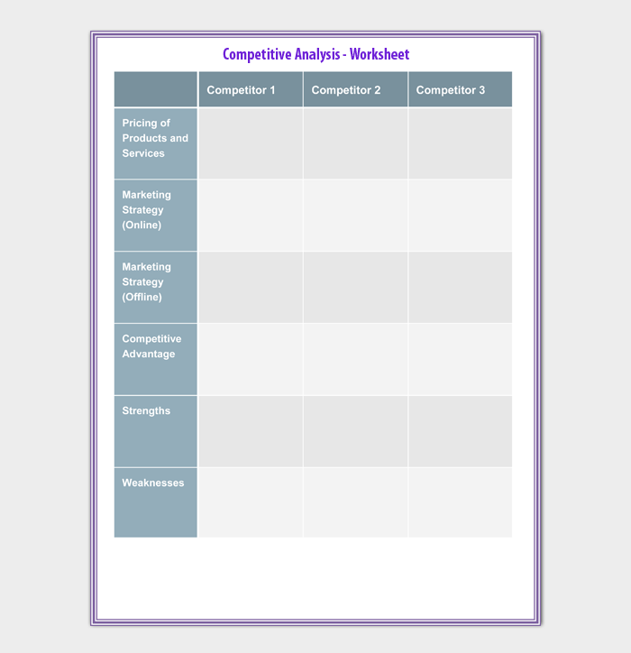 Competitive Analysis Templates How To Conduct 20 Examples